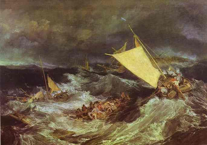 William Turner >> The Shipwreck  |  (Oil, artwork, reproduction, copy, painting).In the canons of modern art criticism, Turner is considered more important. His search for atmospheric effects and the emotional drama of color, which led to dramatic canvasses roiling with waves and clouds, are seen as a precursor to Impressionism and Modernism...via lines and colors