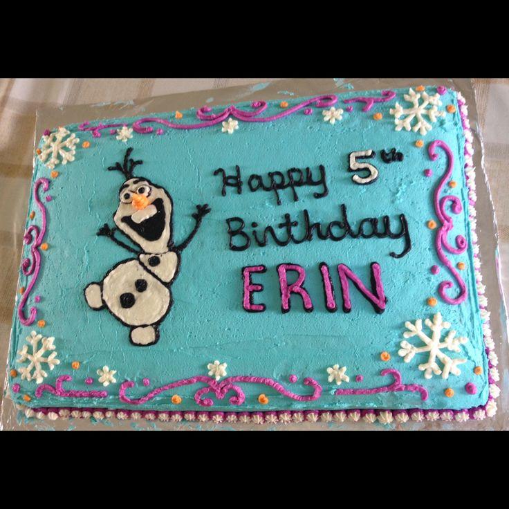easy to make Disney Frozen theme birthday sheet cake. Olaf - diy - birthday - cake