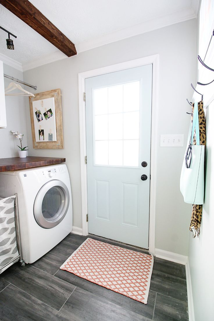 Pedraza Laundry Room Reveal - Bower Power. Walls; Front Porch, Door: Tidewater, SW