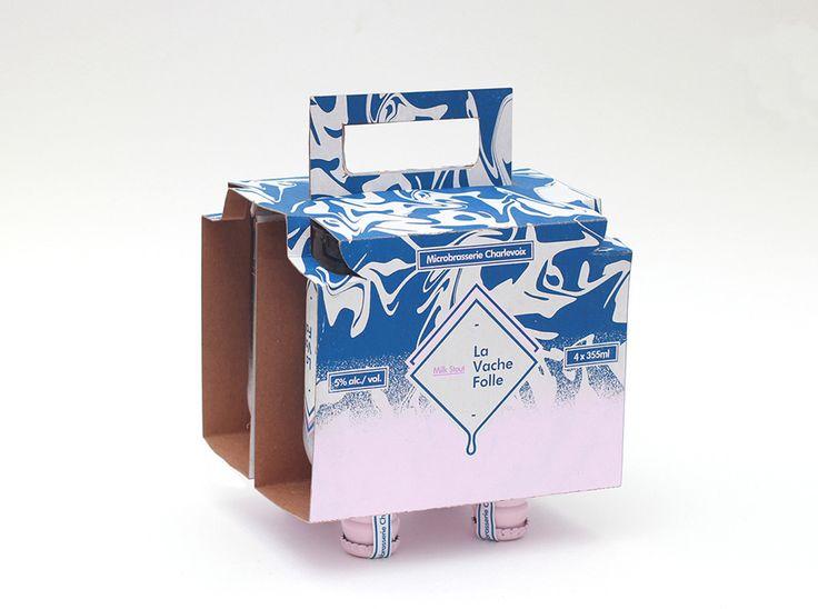 Канадский дизайнер Olivier Charland создал оригинальный дизайн бутылок длямолочного стаута (пиво) La Vache Folle иконструкцию упаковку изкартона длячетырех бутылок. La Vache Folle переводится сфранцузского «Бешеная корова» ипоэтому картонная упаковка длячетырех бутылок имитирует коровье вымя. Печать наупаковке нанесена вдва цвета.  http://am.antech.ru/zJze