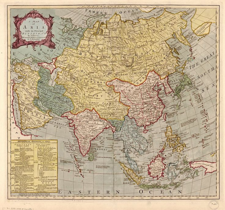 Old map from Asia in 1700 3456