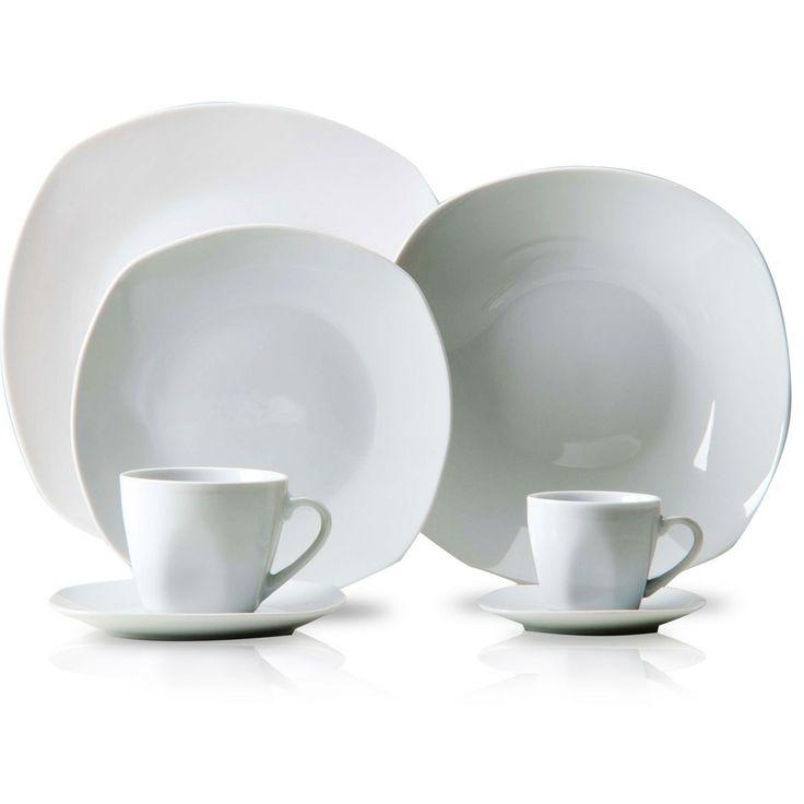 Aparelho de Jantar Quadrado 42 Peças Porcelana Branca - La Cuisine - Shoptime