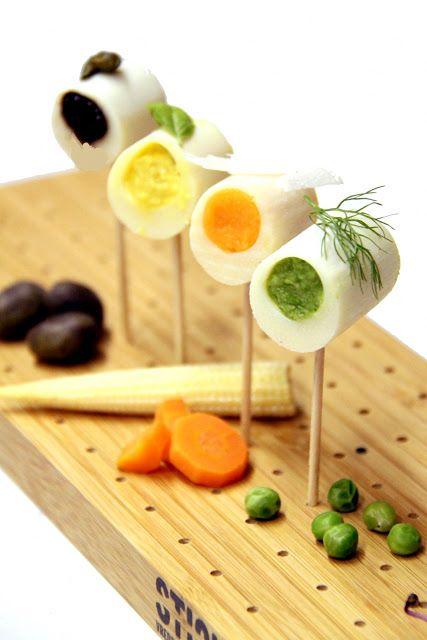 Palmitos rellenos inspirado en el chef G. Achatz