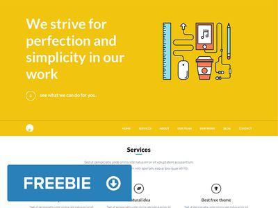 OneEngine - Free one page Wordpress Theme - Free PSD