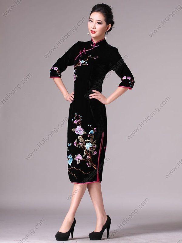black qipao dress womens cheongsam dress chinese