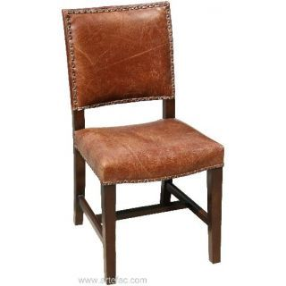 Antique Brown Leather Dining Room Chair With A Big Farmhouse Table