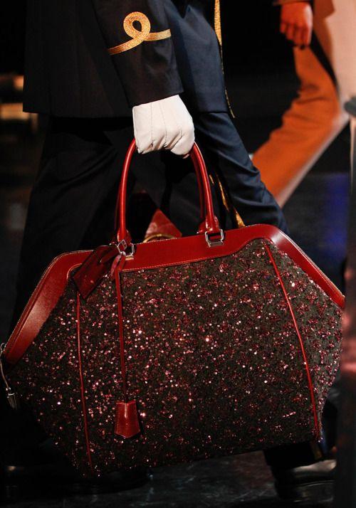 Louis Vuitton Fall 2012 large red sparkle LV print handbag