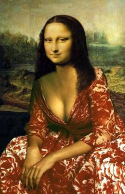 Mona, a real character. I have a goal of pinning a reinterpretation of Mona Lisa to every one of my boards. There are so many parodies and such diversity, I think this is possible.