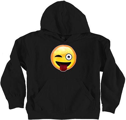 Micro Me Black Tongue Emoji Hoodie - Toddler & Girls