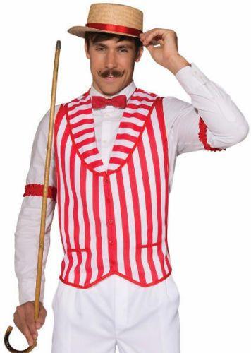 Barbershop Quartet Costume : Barber Shop Quintet Red and White Striped Costume Vest