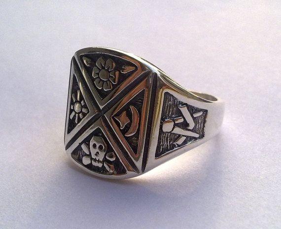Símbolos masónicos maestro Mason Virtus anillo de por vikigreen