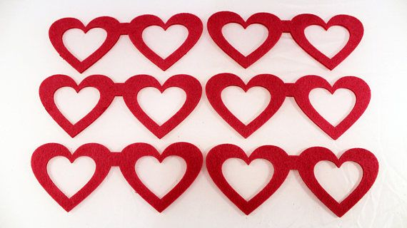 Felt Heart Shaped Glasses for craft and embellishment 25