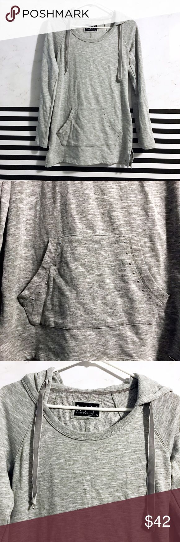 Andrew Marc gray pullover hoodie with pocket Andrew Marc (Marc New York performance) gray pullover hoodie with pocket that has rhinestones on it. Drawstring for hood is nice faux suede like material. High quality comfortable top. FAST SHIPPING Andrew Marc Tops