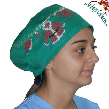 Scrub cap suitable for all medical purposes. This cute scrub hat features unique embroidered Christmas decoration with Santa's clothes! Amazing gift idea!