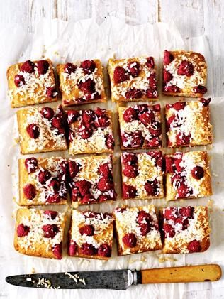 Raspberry & coconut slice. Picture: Guy B...