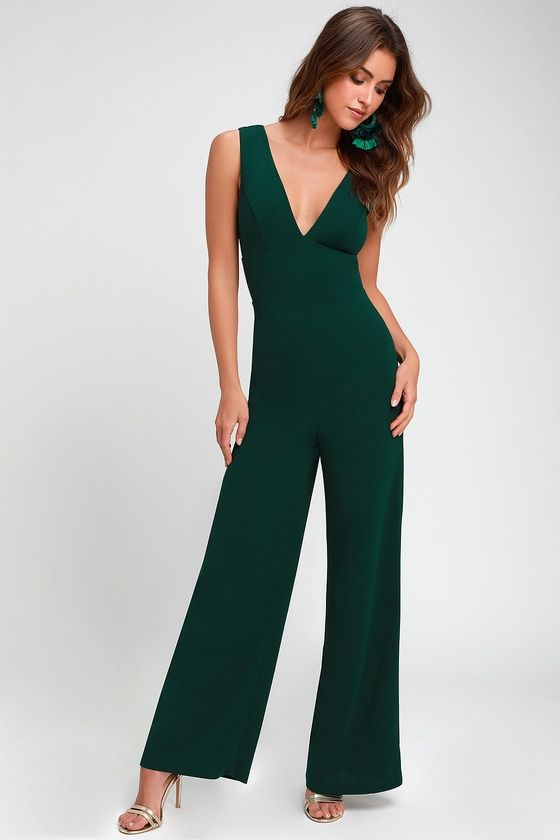 e52e53ccbc2 Ready For It Hunter Green Sleeveless Wide-Leg Jumpsuit