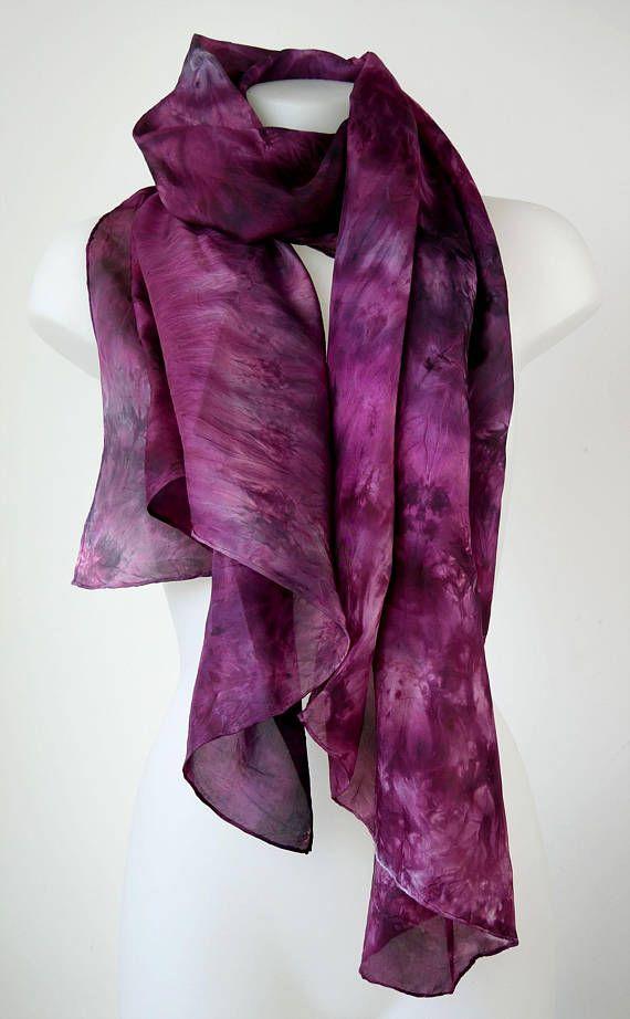 Burgundy Wine large handmade hand-dyed silk scarf wrap sarong