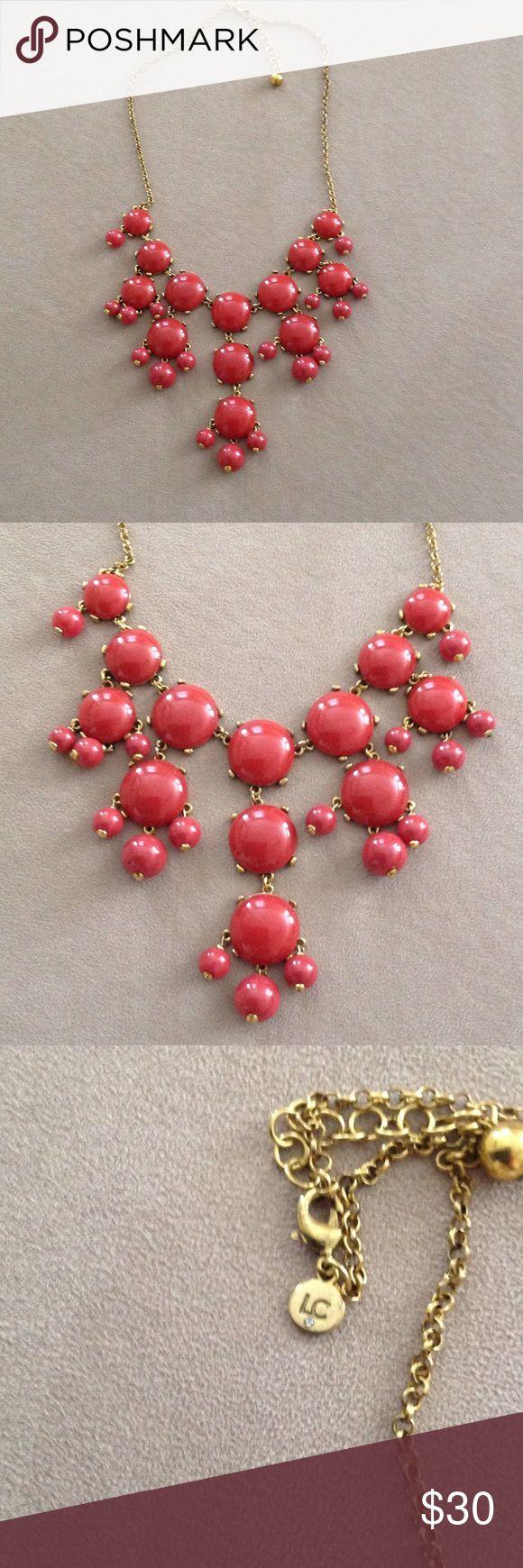 Liz Claiborne Bubble Necklace Liz Claiborne deep red bubble necklace. Antiqued gold chain. Liz Claiborne Jewelry Necklaces