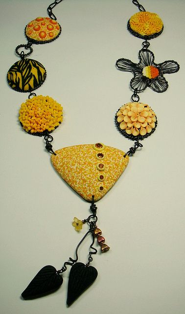 yellow necklace by polymerclaybeads, via Flickr
