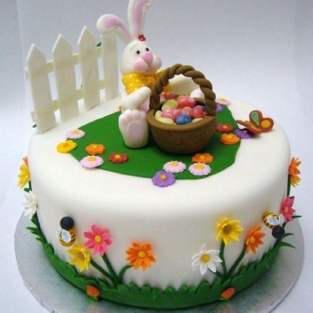 Easter cake bunny fence basket eggs flowers grass