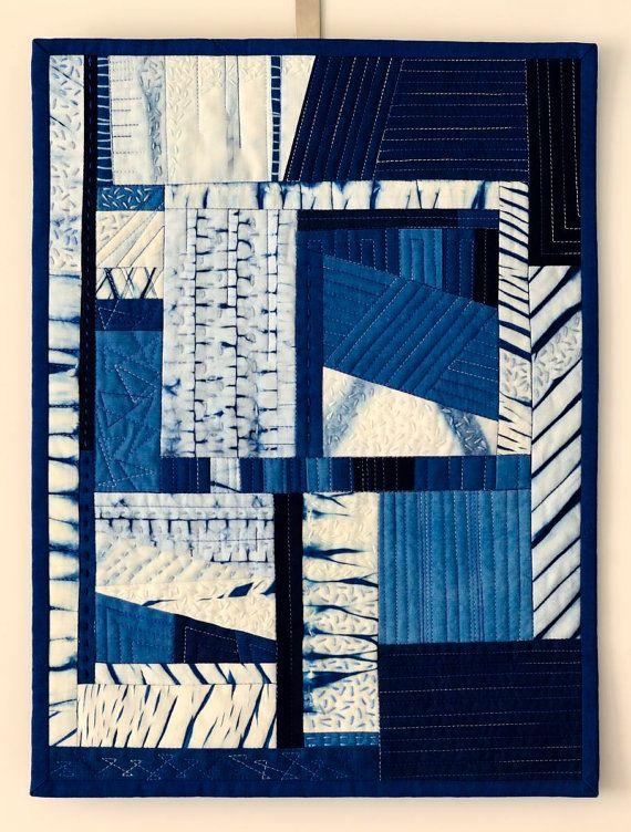 Shibori Indigo Abstract Art Quilt