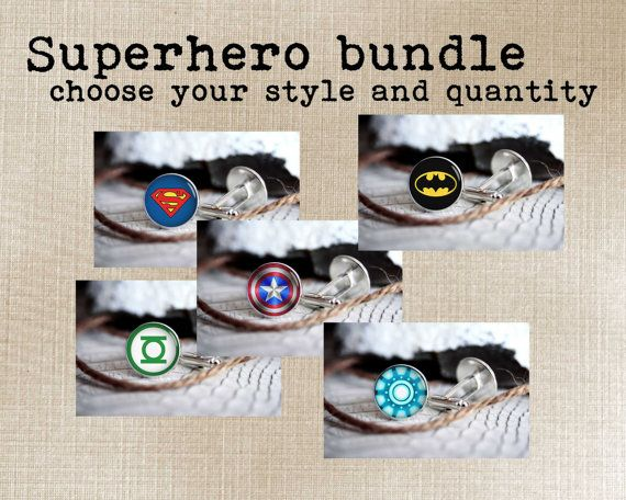 Set of 8 superhero cufflinks bundle cool by TheBlueAgaveStudio