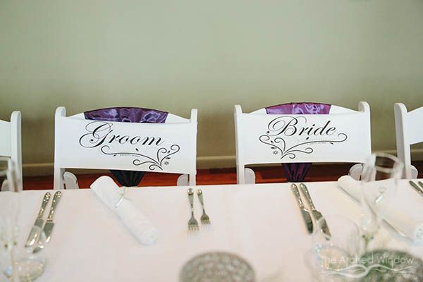 bride and groom chair labels for wedding reception