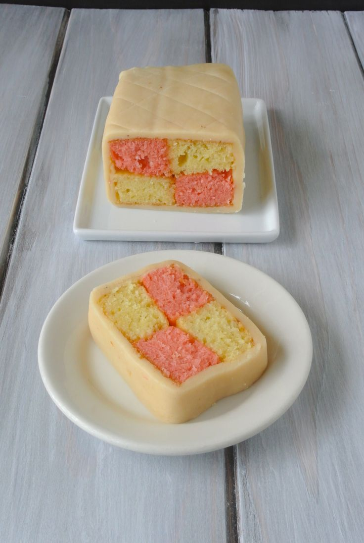 A British classic, Battenberg cake - I think this would be good with chocolate and vanilla since I don't really do red food color.  Looks like YUM!