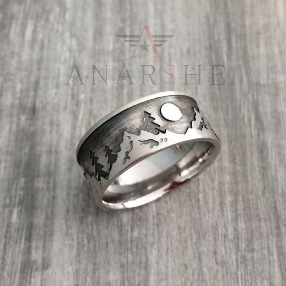 Mountain Wedding Band Ring in Sterling Silver Metal by ShopAnarshe