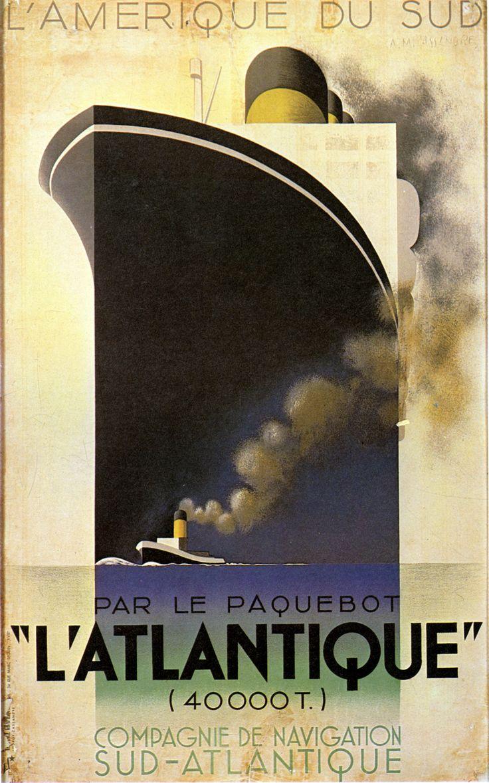A.M. Cassandre, cartel del trasatlántico L'Atlantique, 1931. La embarcación se construye sobre un rectángulo que repite los bordes rectangulares del cartel.
