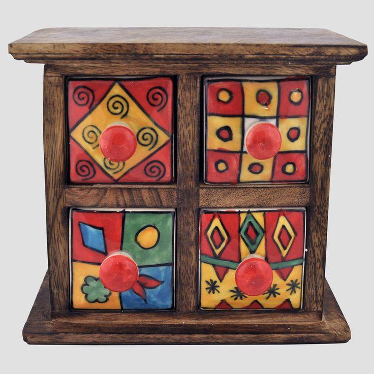 Ceramic 4 Drawer India Box