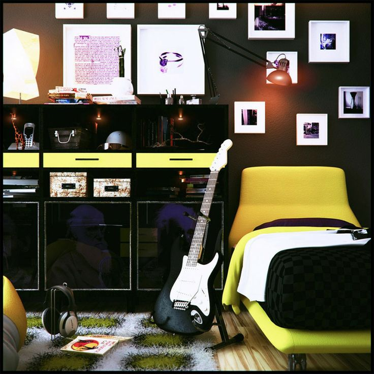 black bedroom with black wall glass cabinets electric guitar green fur rug