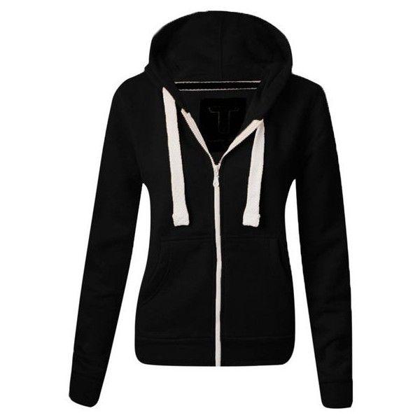 WOMENS PLAIN HOODIE LADIES HOODED ZIP ZIPPER TOP SWEAT SHIRT JACKET... ($3.29) ❤ liked on Polyvore featuring tops, hoodies, zipper hoodies, zipper hoodie, zipper top, hooded tops and zip hoodie