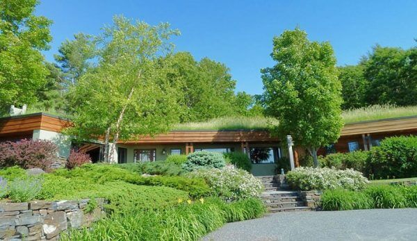 Earth-sheltered Pinnacle House is an award-winning, sustainably-designed home in Lyme, New Hampshire.