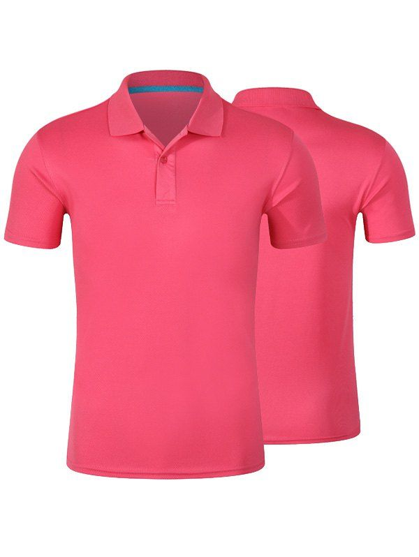 $8.26--Short Sleeve  Polo Shirt In Pink,3xl