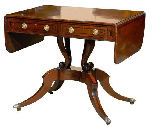 Regency Mahogany Sofa Table With Greek Key Design, Ca. England (via Laura  Casey Interiors)