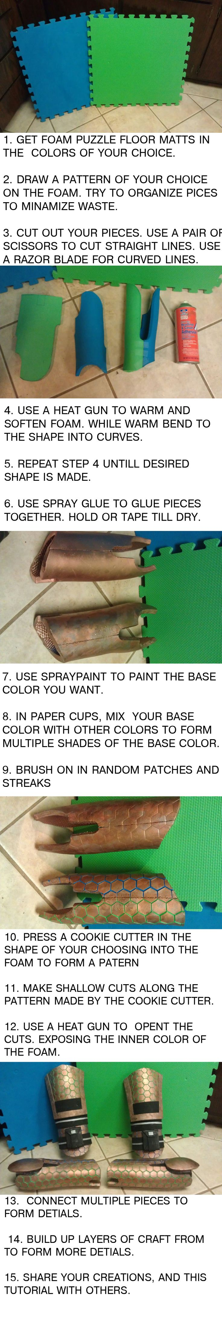 How to make armor from foam floor mats. These would be pretty thick, but would be good for armor that needs to look thick or have details carved into it.