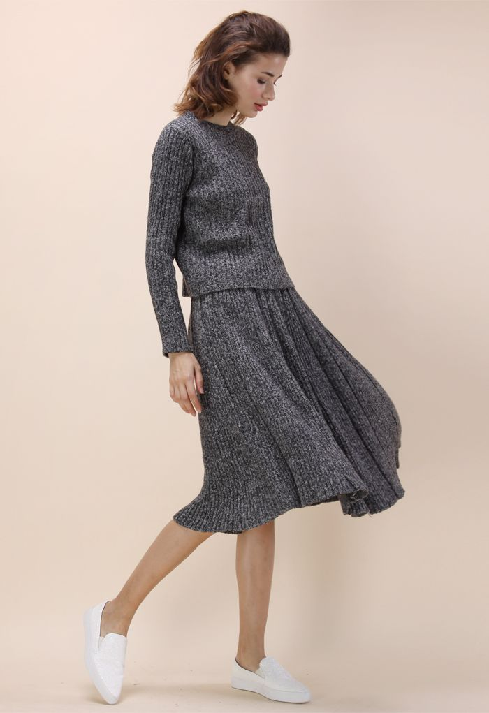 Comfy Direction Sweater and Skirt Set in Grey - New Arrivals - Retro, Indie and…