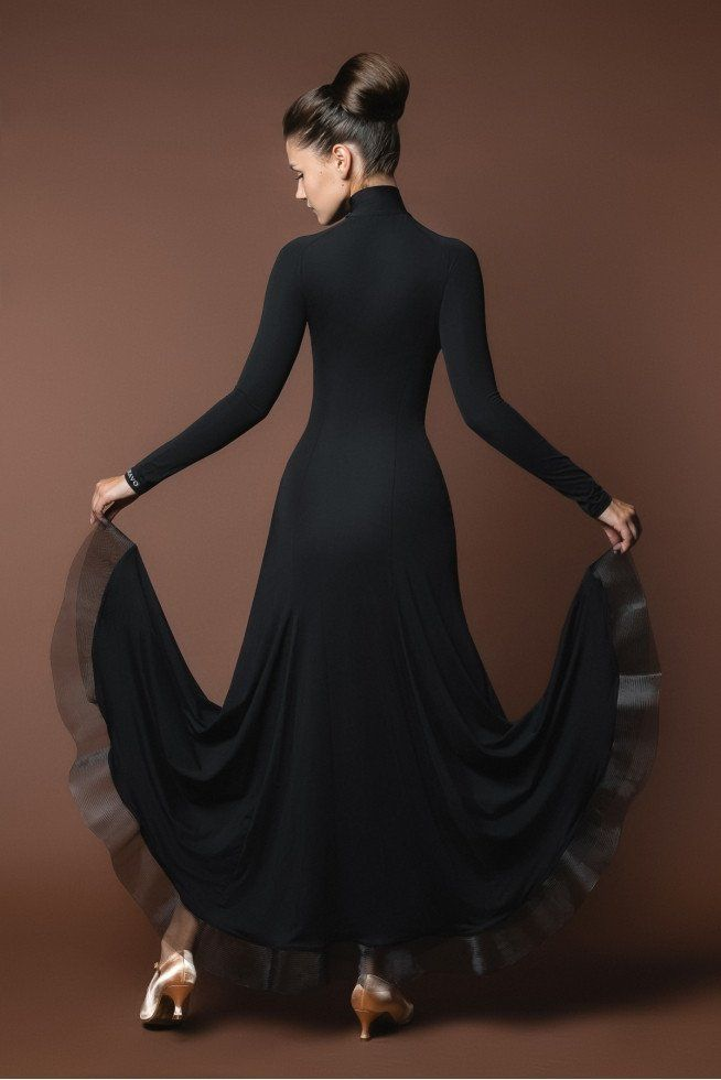 classic black ballroom dance dress from dancewear for you australia with high neck, long sleeves and crinoline hem