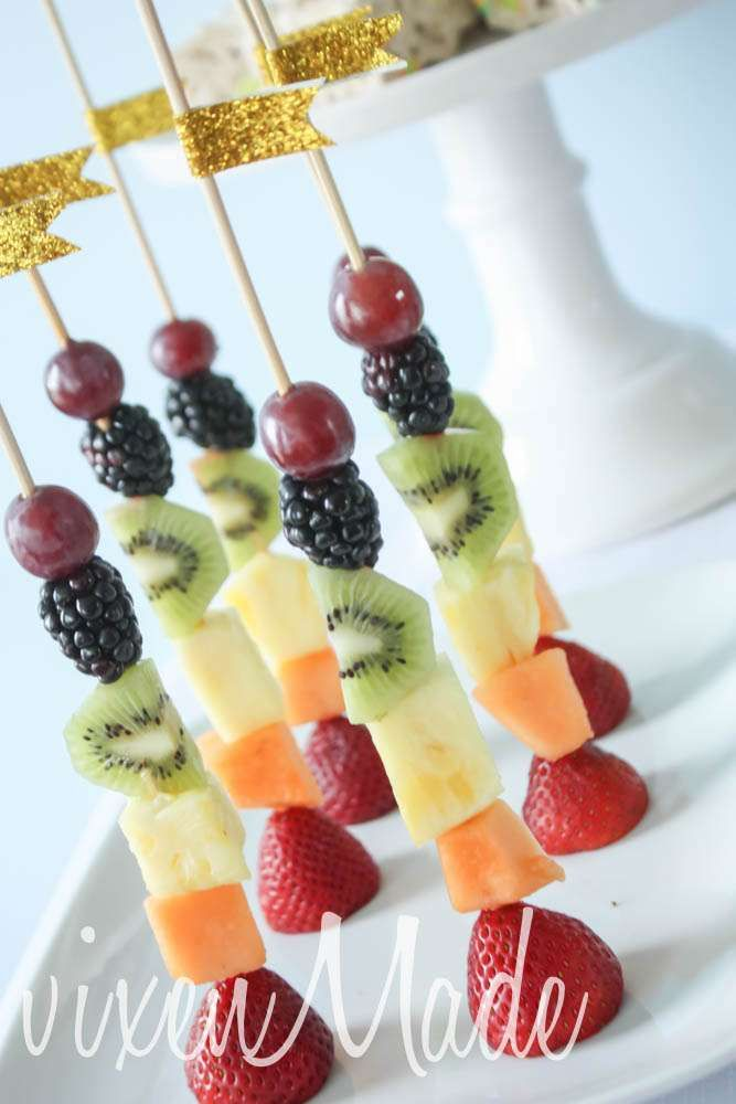 Rainbow fruit skewers! See more party ideas at CatchMyParty.com!