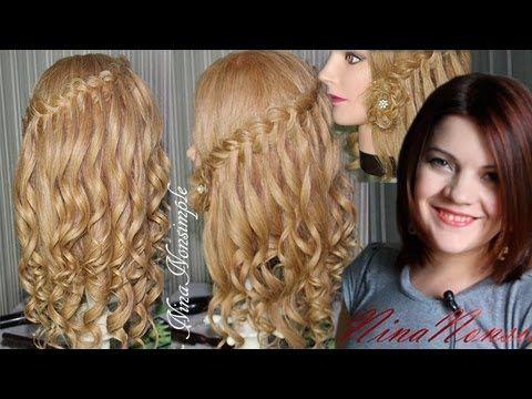 ПРИЧЕСКА на ВЫПУСКНОЙ/ ЛОКОНЫ/ ЦВЕТОК/ ВОДОПАД/ Сurly hairdo with hairflower/ Nina Nonsimple - YouTube