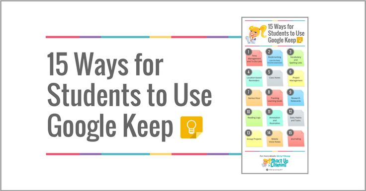 PinterestHelp Students Get Organized, Track Progress, Take Notes, and more with Google Keep! Google Keep is a robust G Suite tool that can help teachers and students create and share notes, lists, and reminders. There are so many possibilities that I decided to put together this post and infographic with ideas for how Google Keep can …