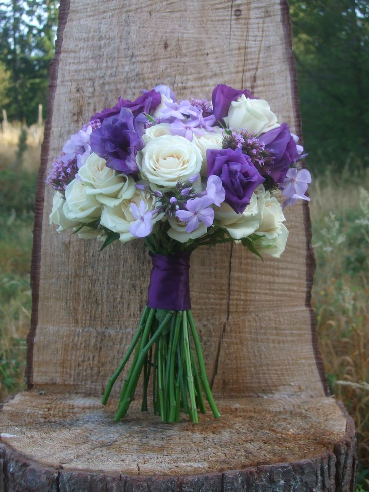 purple and cream country chic bridal bouquet by vases wild on whidbey island