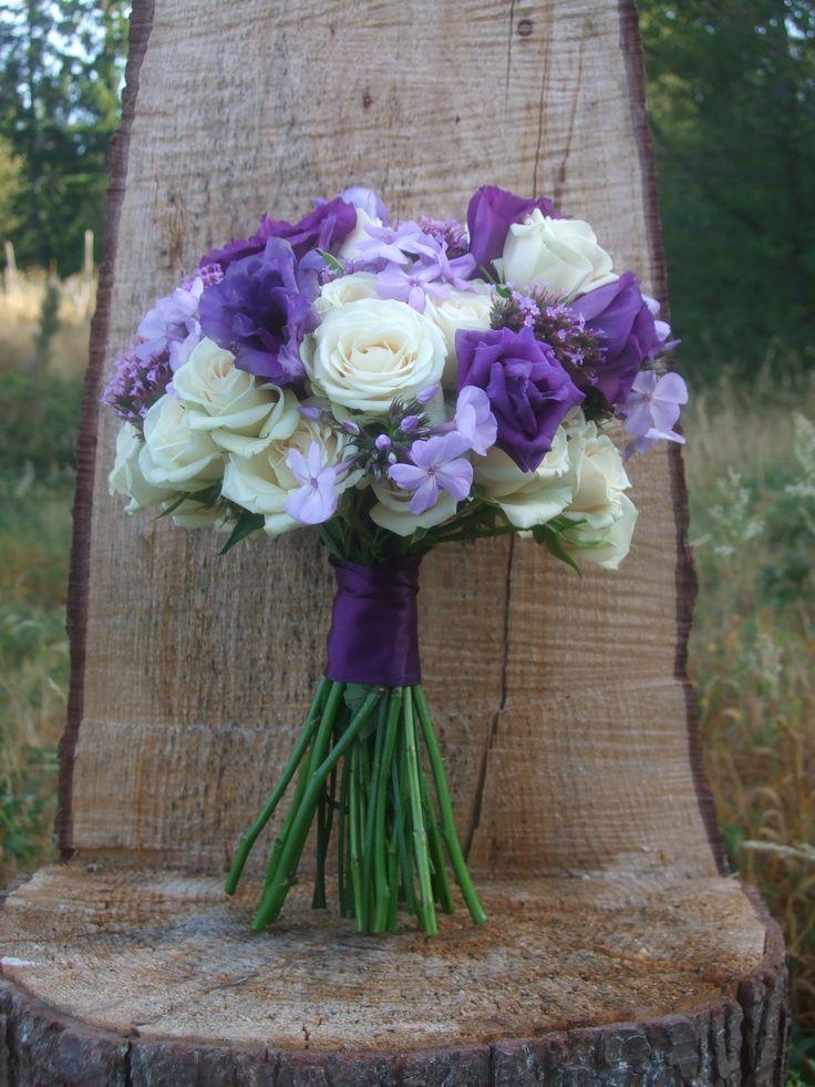 Purple and cream bridal bouquet - creamy spray roses with purple Lisianthus, Verbena and Phlox   Vases Wild