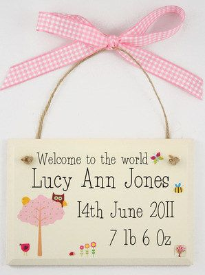 New baby personalised wooden plaques. 100% handmade using 100% UK sourced materials. Exclusive to Gemma Jane Designs and only £9.99