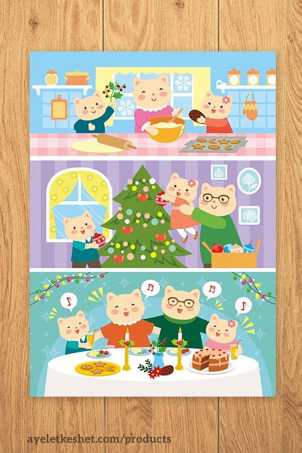 Christmas card   family of cartoon cats celebrating card Greeting