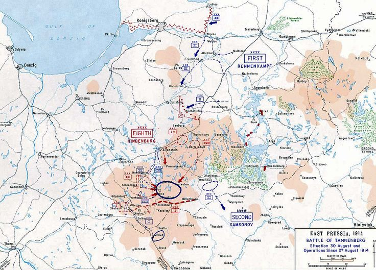 Map of the Battle of Tannenberg - Last Day, 1914