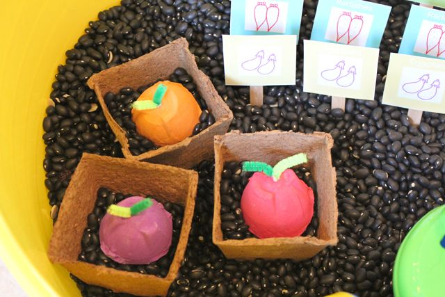 Veggie Garden Sensory Box: Gardens Ideas, Activities For Kids, Gardens Sensory, Gardens Theme Crafts Preschool, Vegetables Gardens, Eggs Cartons Crafts, Gardens Markers, Diy Veggies, Veggies Gardens