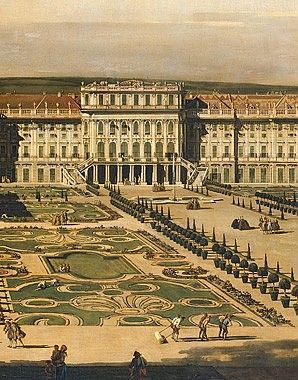 Bernardo Bellotto, paintings - Schönbrunn Palace viewed from the gardens, 1759/60