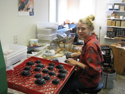 Tamsin Sloots is working in our leather shop while she completes her Bachelor of Craft at Nova Scotia College of Art & Design.  She is making some folding coin purses in this photo:  http://www.leathersmithdesigns.com/folding-change-purse-economy-small/